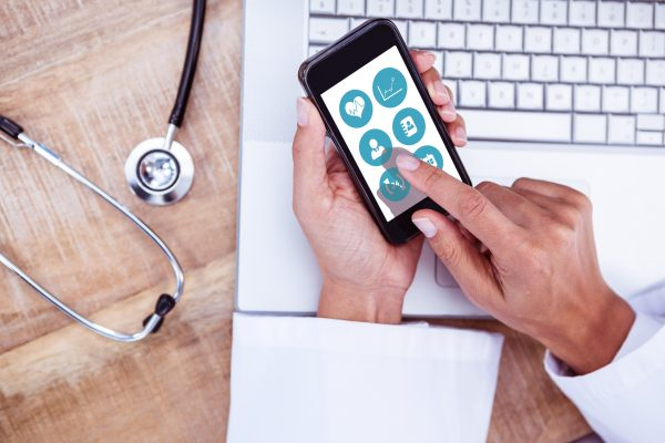 doctor using smartphone app