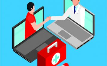 Doctor and Patient emerging from separate computer screens to shake hands